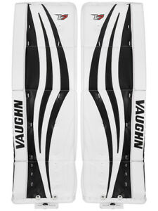 New-Vaughn-Xr-Pro-Sr-goalie-leg-pads-32-034-2-White-Black-Velocity-V7-senior-hockey