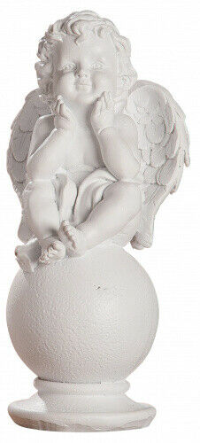 dekojohnson liebevolle Engelsfigur auf Kugel weiß als Grabschmuck 7,5x7,5x16 cm