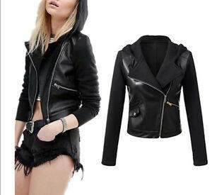 factory authentic 6a67f 25b26 Dettagli su Giacca Corta Giubbotto Donna Similpelle PU Leather Fleece Woman  Jacket JAC0023 P