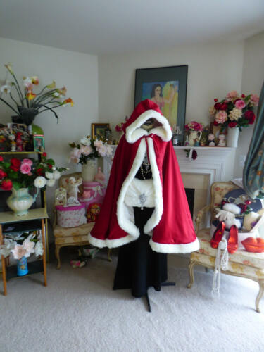 Ivory Satin Wedding Cloak Valentine Belle Inspired Bridal cape Claret