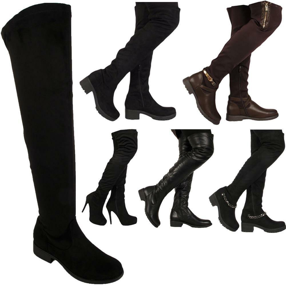 Ladies Womens Stretch Flat Zip Over the Knee High Winter Boots Shoes Sizes Uk