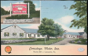LANCASTER-PA-Conestoga-Motor-Inn-Motel-Vintage-Postcard-Early-Old-Pennsylvania