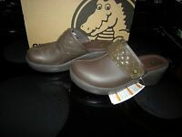 Brand Womens Brown Crocs Cobbler Quilt Strap Slide On Shoes, Size 6