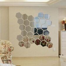 12 Stück 3D Spiegel Hexagon Wandaufkleber Wandtattoo Wandsticker Abnehmbare Deko