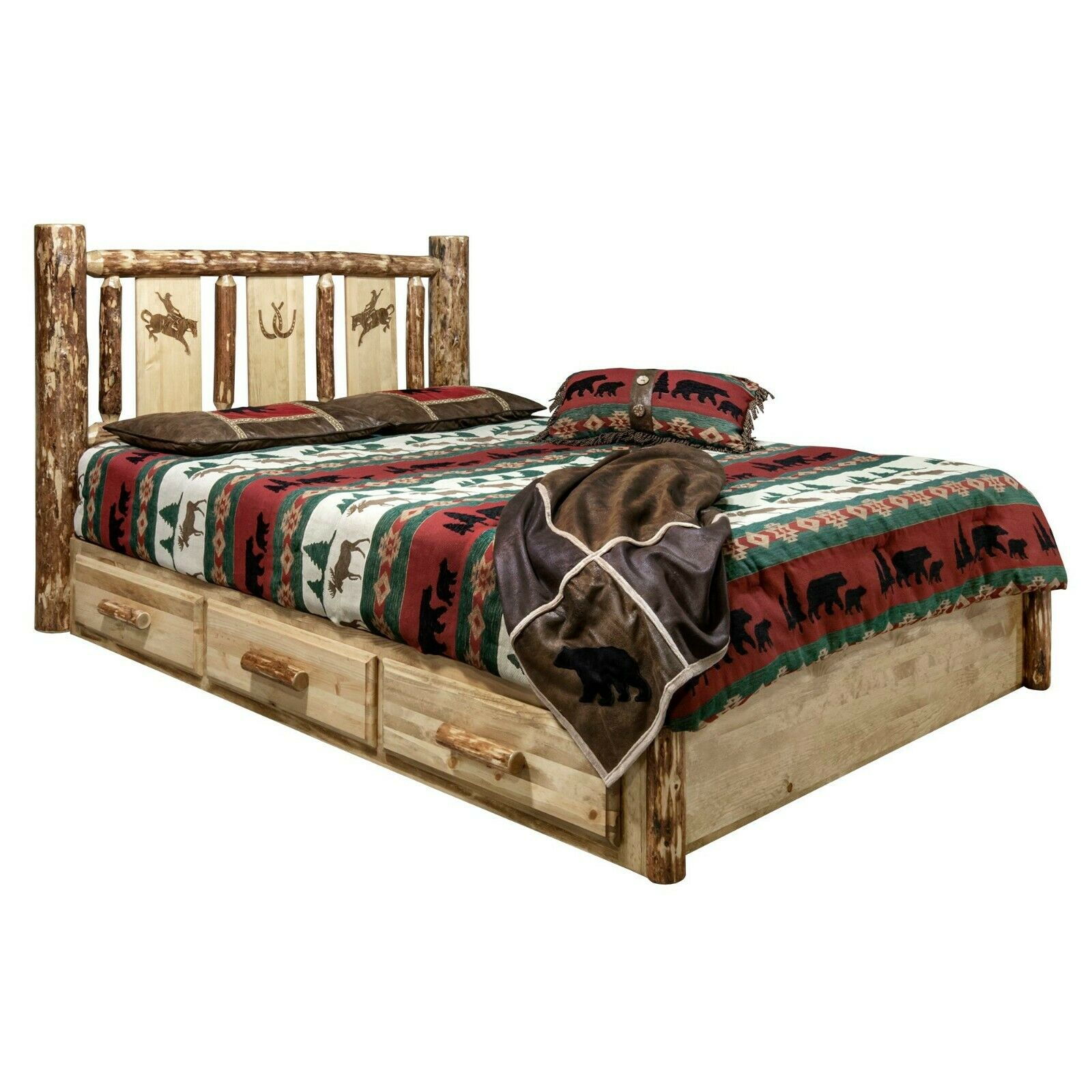 Amish Rustic Pine Queen Unfinished Captain S Storage Platform Bed 12 Drawers For Sale Online Ebay