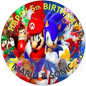 Super Mario Sonic The Hedgehog Happy Birthday Edible Cake Topper Personalised Ebay