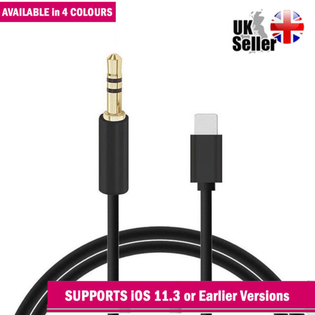 sale retailer 1dbe9 e90cc Lightning to 3.5mm Jack Car AUX Audio Adapter Cable for iPhone 6s 7 Plus  Black