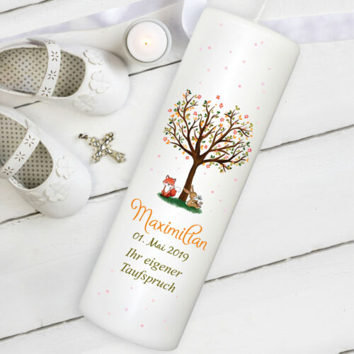 weiße Taufkerze Kerze zur Taufe Baum tree Hase Fuchs Licht Christi Baby Segnung