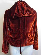 Zara Trafaluc Collection Burnt Orange Velvet Style Hooded Jacket Size XS