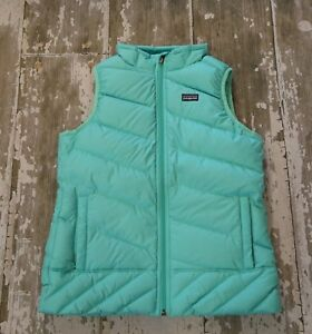 ec0b006ad Details about Patagonia Girls Vjosa Green Zip Front Down SWEATER Vest Size  L Large 12 Years