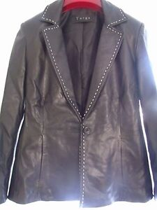 Stunning Black 60's Style Leather Fitted Jacket Size 10 12 Excellent Condition