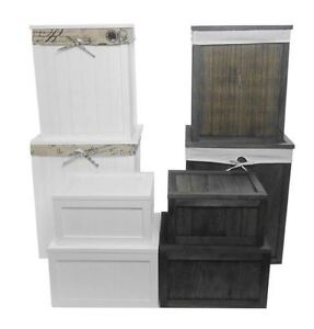 Brown White Wooden Kids Bedroom Playroom Toy Box Chest