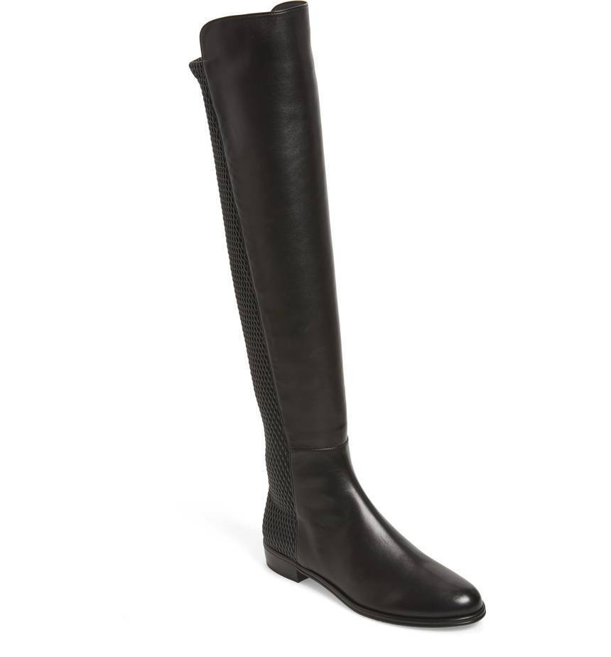 NIB $785+ Stuart Weitzman Alljenn Over the Knee 5050 OTK Boot Black Leather 8.5