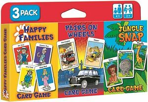 Children-039-S-Card-Games-Jungle-Snap-Pairs-On-Wheels-amp-Happy-Families-3-Pack