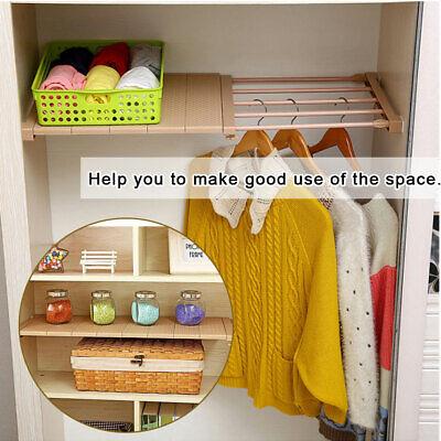Adjustable Wardrobe Tension Shelf Cupboard Storage Rack ...