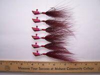 Bucktail Jigs, Pure Tin, Lead Free 1/8 Oz., 6 , 1/0 , Red Wine