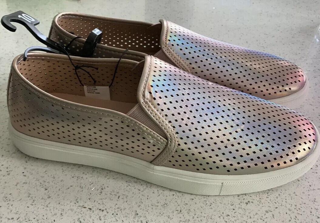 New! Rose Gold Slipon Shoes Size 9.5 Memory Foam Summer Sneakers Flexible Sole