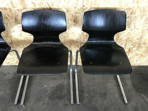 4x 60er 70er Jahre Pagholz Stuhl Stühle Chair Freischwinger Chrom Stahlrohr 70s