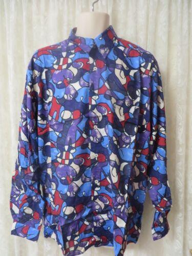 Giorgio Danieli Shirt Vintage Neuf Avec Étiquettes Rétro rayonne à manches longues Blues violettes