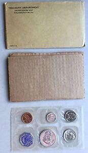 USA-1957-Proof-Set-Philadelphia-in-Umschlag-Silber-PP-polierte-Platte-1c-50c