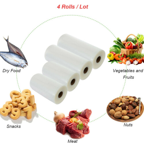 """5m 4 Rolls 11/""""x50/'/&8""""x 50/' Embossed Vacuum Sealer Bag Food Saver Storage Package"""