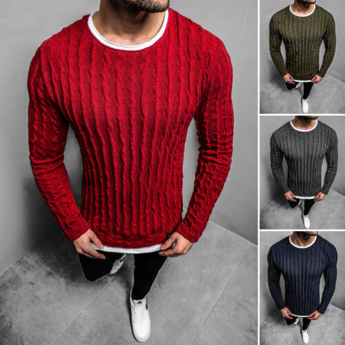 Pull Tricot Pull Sweater basic unicolore Chemise manches longues OZONEE 2137z Hommes