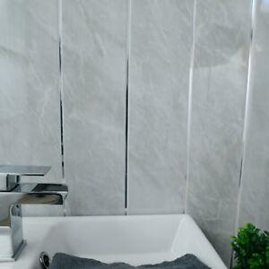 grey stone & chrome strip panels plastic bathroom cladding