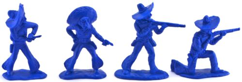 54mm plastic soldiers 24 Mexican Bandits blue color mint in header card bag
