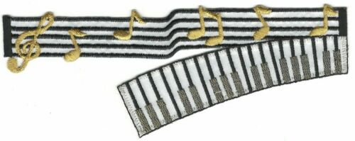 """6/"""" Piano Keyboard Music Treble Clef Embroidery Patch"""