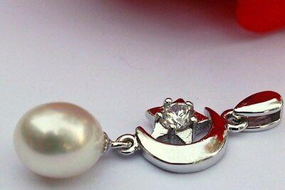 P44 Süßwasser Perlen Schmuck Anhänger Zirkonia ohne Kette 925 Silber G-Schlüssel