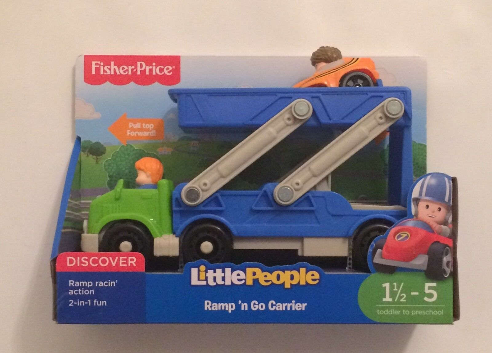 NIB Fisher-Price Little People Wheelies Ramp 'n and Go Car Carrier Toy