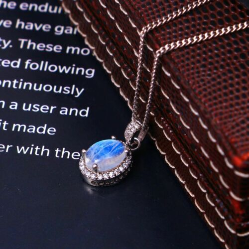 Details about  /Moonstone Dainy Statement Pendant Necklace Oval Halo Women 925 Sterling Silver