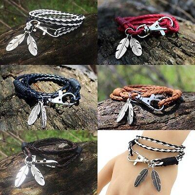 Vintage Leather Wrap Braided Wristband Cuff Punk Bracelet Bangle Keychain 2in1
