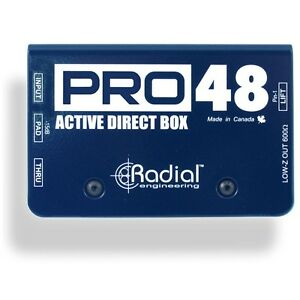 Radial Engineering Pro48 Active Direct Box DI for Acoustic Guitar Bass Pro 48