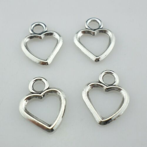 40//120pcs Tibetan Silver Smooth Love Heart Charms Pendants Jewelry Findings
