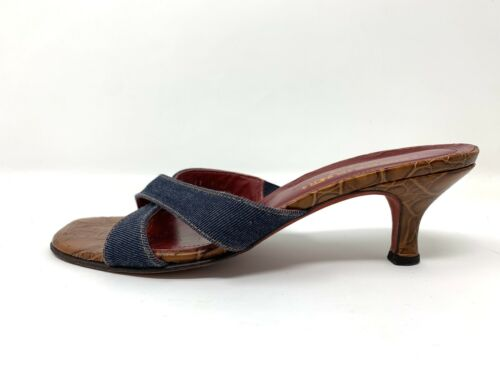 90/'s Gold Suede Thong Slide Sandal  Donald Pliner  Vintage Block Heel  Size 8.5M