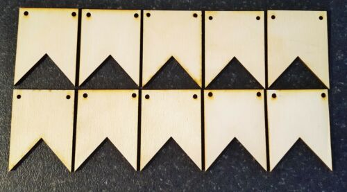 10 x Square edge bunting  plywood blanks for crafts orPyrography