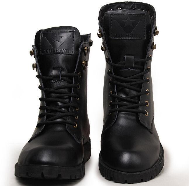 Para Hombre de Cuero High Top Remaches Punk De Invierno botas al tobillo militares de Motocicleta MGIC