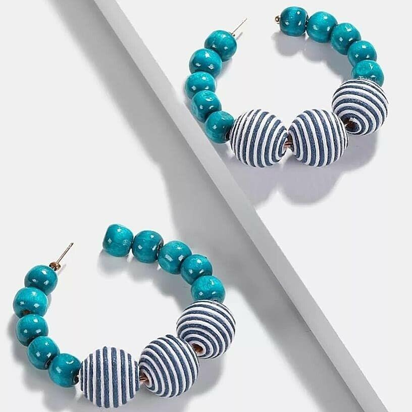 Turquoise Stripe Blue Ball Multi Bead Charm Fashion Jew