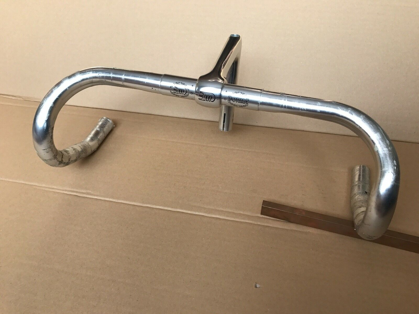 NOS 3TTT Forma 44cm handlebars with 110mm quill stem, for campy ergoshifters