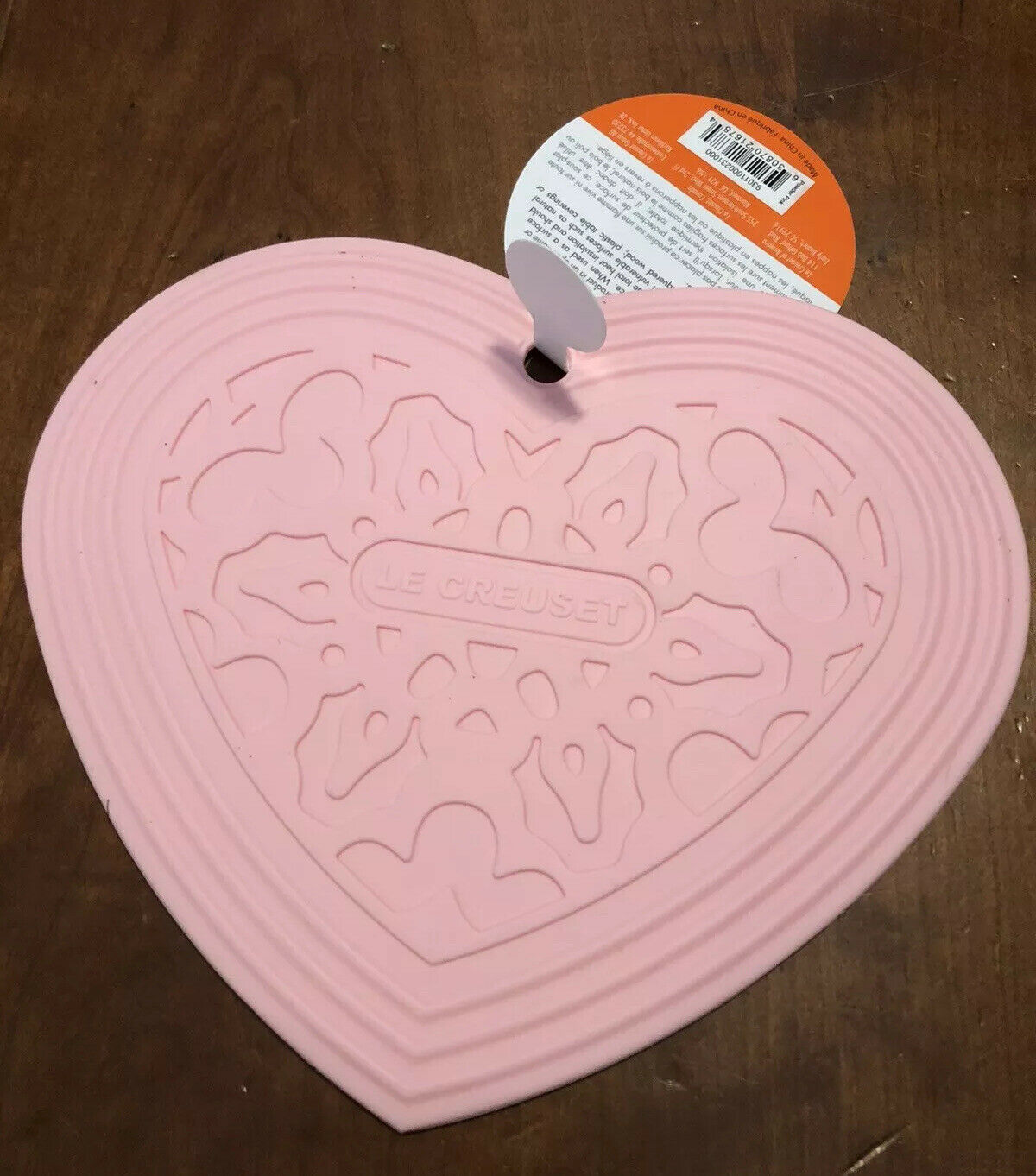 "Nappe Table En Bois ""powder pink"" le creuset 7.75"" silicone heart trivet hot pad mat nwt cool  tool"