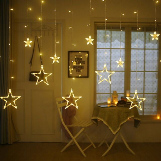 Twinkle Star 12 Stars 138 LED Curtain String Lights Window With