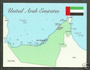 United Arab Emirates Map postcard Abu Dhabi Dubai Sharjah Ajman Flag