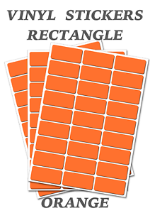 Self Adhesive Waterproof Vinyl Labels size 25mmX12mm 50 Orange  Rectangles