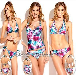 61de9b24cb Image is loading Becca-Swimwear-Bikini-Tankini-Floral-Banded-Halter-String-
