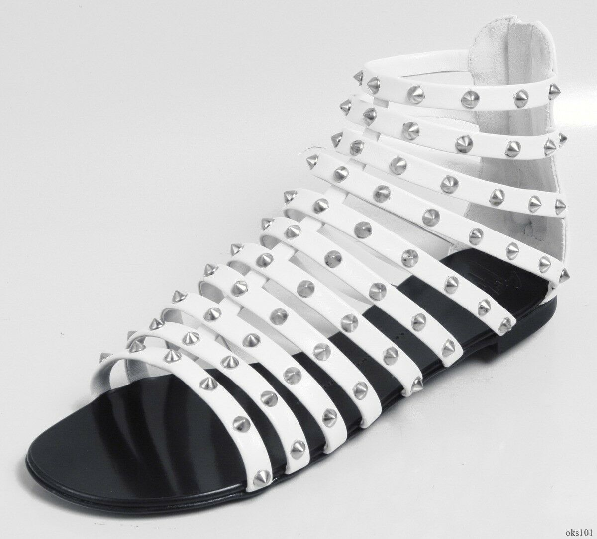 New  995 Giuseppe ZANOTTI white SPIKED STUDDED strappy sandal flats Scarpe - HOT