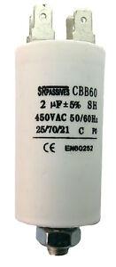 Condensateur moteur de démarrage / permanent 2µF 2uF 450V à cosses + vis CBB60