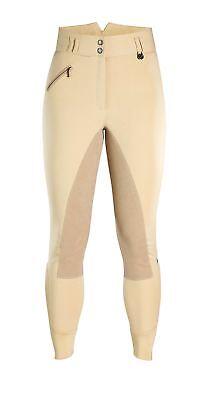 Caldene Donna Hartpury Vita Alta Pieno Sedile In Pelle Scamosciata Equitazione Calzoni- Materiali Superiori