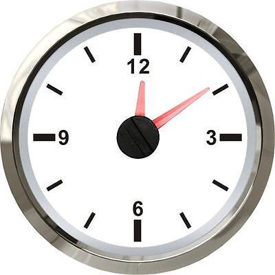 52mm Analogue 12v Clock Gauge Any Car Petrol Diesel Van - White Face