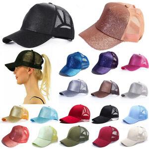Glitter-Ponytail-Baseball-Caps-Women-Messy-Bun-Adjustable-Snapback-Hip-Hop-Hat